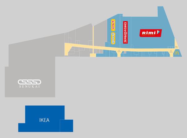 Голубой фон - часть ТЦ, открывающаяся в сентябре 2015. Серый - часть ТЦ, открывающаяся весной 2016