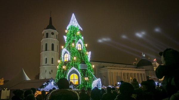 Ёлка в Вильнюсе на Кафедральной площади